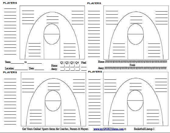 picture regarding Volleyball Lineup Sheet Printable identified as basketball roster sheet -