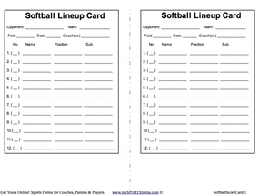 Zany image with regard to printable lineup card