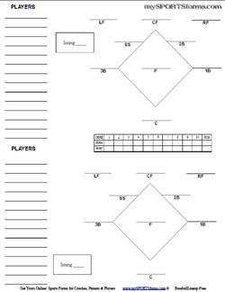 Free printable baseball field diagram new calendar for Free baseball lineup card template